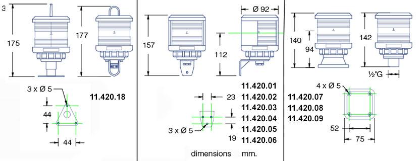 Dimensions feux DHR35