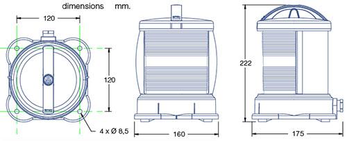 Dimensions feux DHR55N
