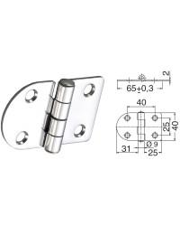 Charnière inox 68,5x38,5 nœud renversé fixation par goujons 15/30mm