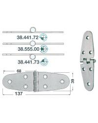 Charnière inox 137x39mm nœud saillant