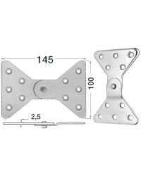 Charnière inox latérale 145x100