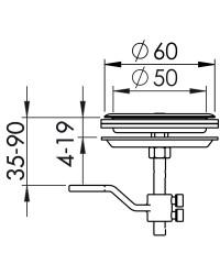 Lève-plancher inox ø51mm enc. avec serrure