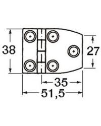 Charnière trapezoïdale inox aveugle avec douille femelle 51x38mm
