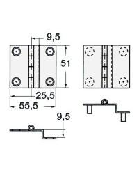 Charnière coudée en inox poli 55x51 - PAF 9,5mm à douille M4