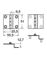 Charnière coudée en inox poli 55x51 - PAF 12,7mm à douille M4