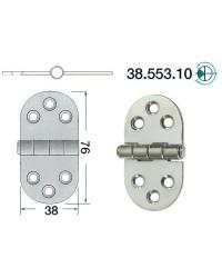 Charnière inox 76x38mm nœud moitié encastré
