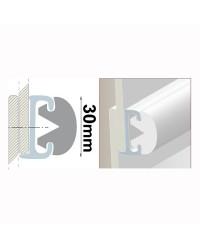 Profile PVC blanc hauteur 30 mm - rouleau de 20 mètres