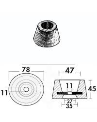 Anode circulaire alu à visser 410 g