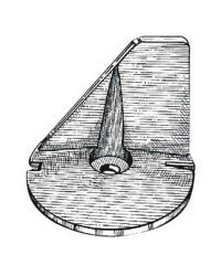 Anode queue carpe Tohatsu 60/70/140CV - Ø77mm - OEM 3B7-60217-0