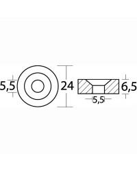 Anode rondelle magnesium Mercury Ø24 x 6,5 mm
