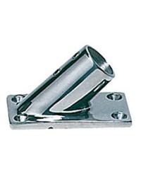 Platine inox rectangle inclinée 45° - ø22 mm