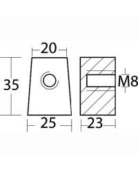 Anode pied alu pour Yamaha 30/60CV OEM 67C-45251-00
