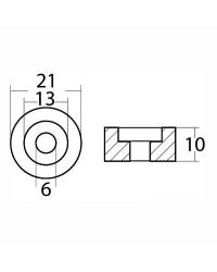 Anode rondelle magnésium pour moteurs hors-bord Suzuki 4/300 CV Johnson Evinrude 21x10mm