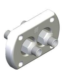 Kit paroi pour double tuyau raccord hydraulique, étanche - chromé