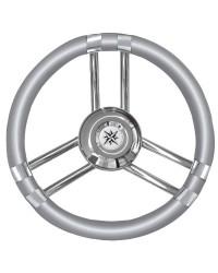 Volant 3 branches plates inox/gris 350mm pour cône universel