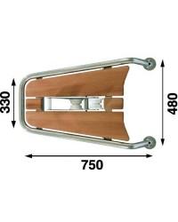 Delphinière inox/teck 75cm avec davier à bascule pour ancre
