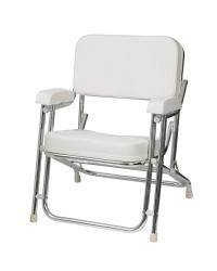 Chaise du Capitaine alu/skaï blanc pliable