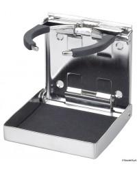 Porte-verre/canettes inox réglable et pliable et antidérapant