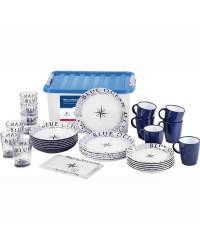 Set Blue Ocean : 6 assiettes plates, creuses, à dessert, verres 30 cl, tasses, 1 plateau