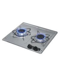 Plaques de cuisson en inox à encastrer 2 feux droit