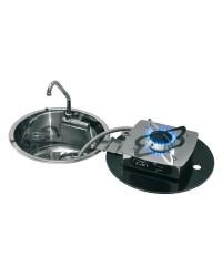 Plan de cuisson 1 feu rabattables à charnière dans l'évier rond