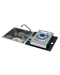 Plan de cuisson 1 feu rabattables à charnière dans l'évier rectangulaire