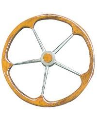 Barre à roue inox et couronne en teck 900mm