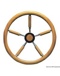 Barre à roue inox et couronne en teck 500mm
