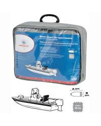 Bâche pour bateaux avec position de conduite centrale 427/488 X 180 cm - gris