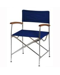 Chaise pliante DOLCE VITA inox et toile sumbrella bleue