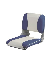 Siège avec dossier rabattable et coussin vinyle - blanc et bleu