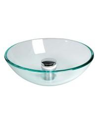 Lavabo semi-sphérique en verre transparent Ø280x95mm (bonde 50.186.97)