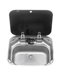 Evier rectangulaire avec robinet et couvercle 420x370mm