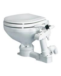 WC manuel cuvette porcelaine et lunette bois laqué - space saver