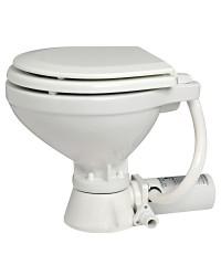 WC electrique en porcelaine lunette bois Space saver 12V hauteur 320 mm