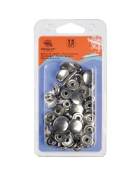 Boutons pression inox - lot de 15