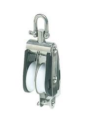 Poulie double PLASTINOX avec ringot, manille tête fixe ou tournante 16xØ63mm