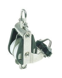 Poulie double PLASTINOX avec ringot, coinceur, manille tête fixe ou tournante 16xØ63mm