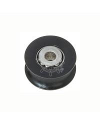 Réa en delrin avec calotte et billes inox pour corde de 8mm noir