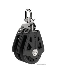 Poulie double LEWMAR Ø60mm pour corde 8/10mm - noire