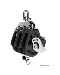 Poulie triple à ringot et coinceur LEWMAR Ø50mm pour corde 6/10mm - noire
