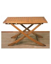 Table teck caillebotis 110 x 70 cm
