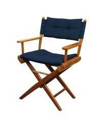 Chaise régisseur teck toile rembourée bleue