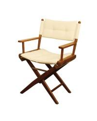 Chaise régisseur teck toile rembourée sable