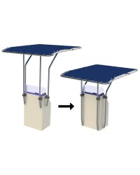T-TOP rétractable en aluminium Ø32 mm 1,20 x 1,70 m - bleu