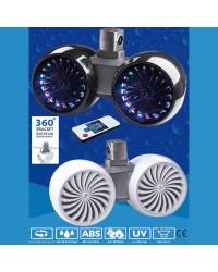 Double haut parleur WAKETOWER -  la paire - 2 x 200 W - noir - avec LED mulicolo