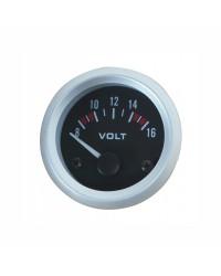 Afficheur voltmètre - Ecoline - Ø 52 mm - Fond noir -
