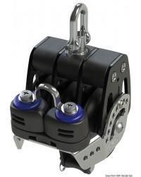 Poulie triple avec ringot et coinceur HTX 50mm pour corde 6/10mm