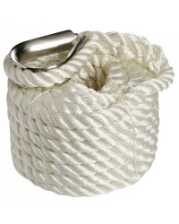 CORDAGE 3 torons avec cosse inox ø16 mm - 8 M - blanc