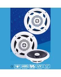 Haut parleur DISCO - la paire - 80 W - blanc - avec LED bleues
